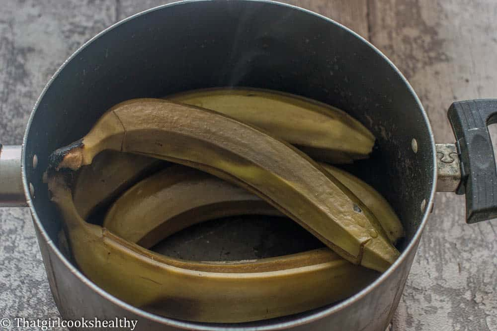 How to boil green banana steps 5