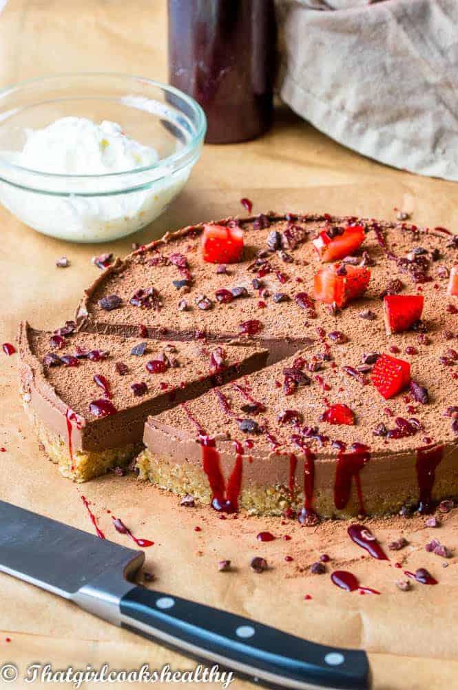 No bake chocolate cheesecake with red glaze