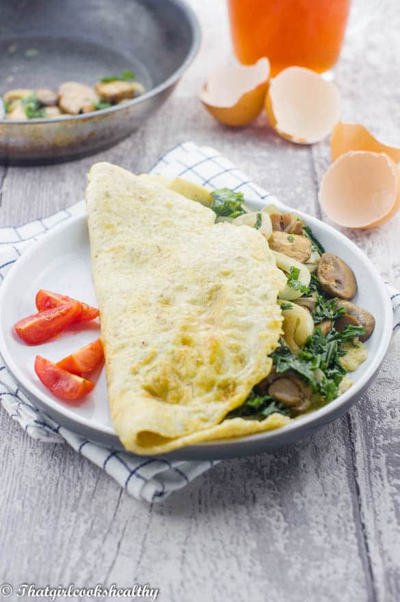 Spinach and mushroom omelette 2 - Spinach mushroom omelette