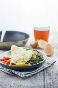 Spinach mushroom omelette