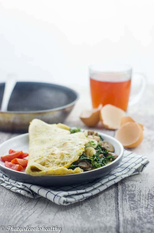 Spinach and mushroom omelette3 2 - Spinach mushroom omelette