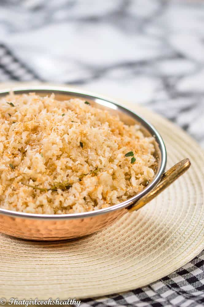 Toasted coconut caribbean rice in a bowl