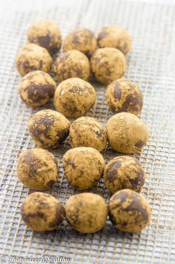 Raw cacao energy balls in rows
