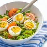 Delicious low carb egg salad with a fork and cloth