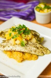 Baked hake with mango pineapple salsa (Caribbean Style)
