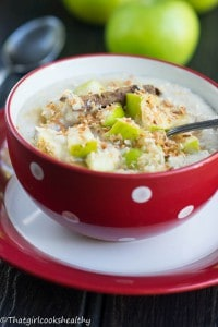 Creamy apple coconut oatmeal (Gluten free)