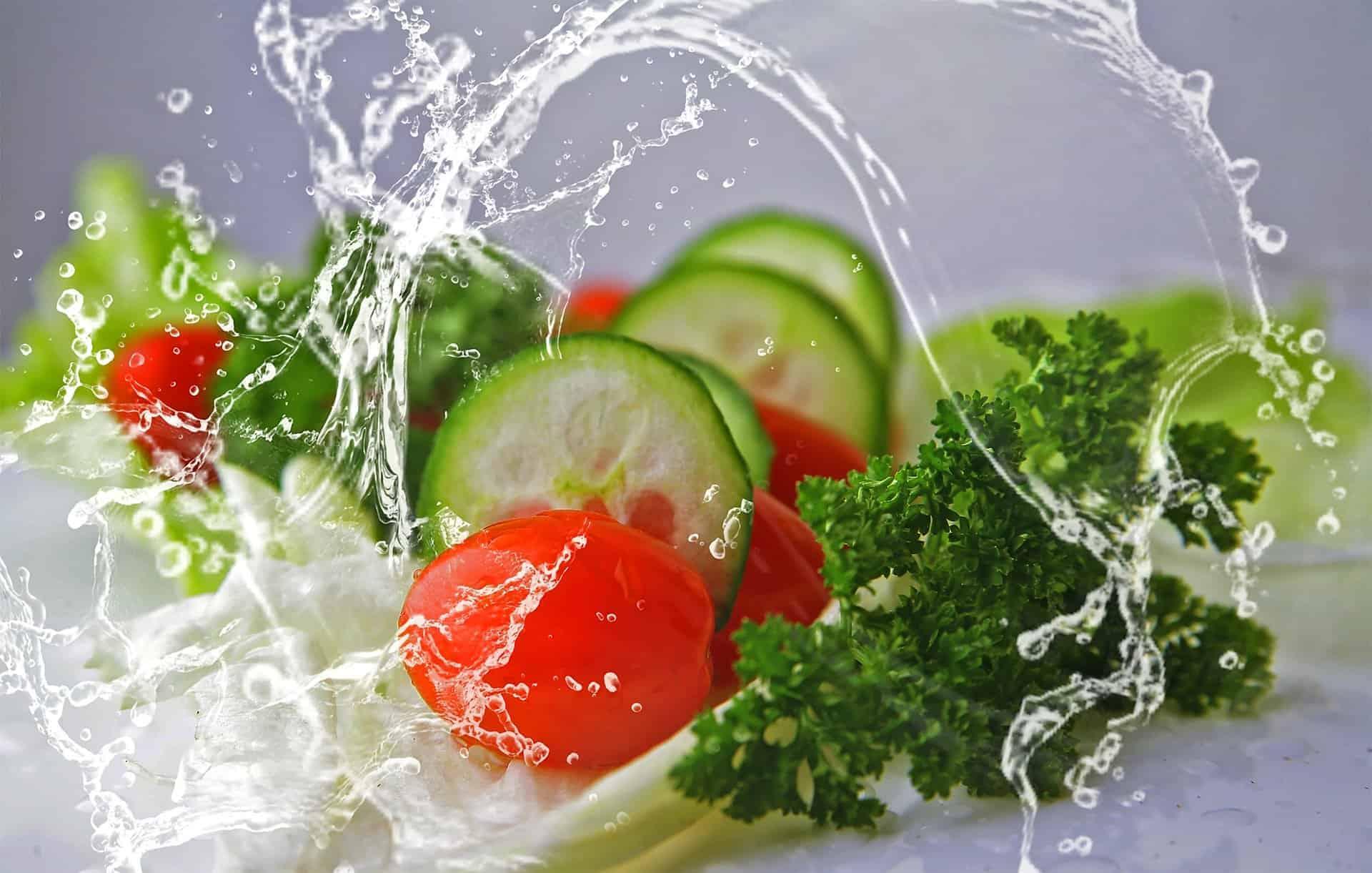 Vegetables splashed in water