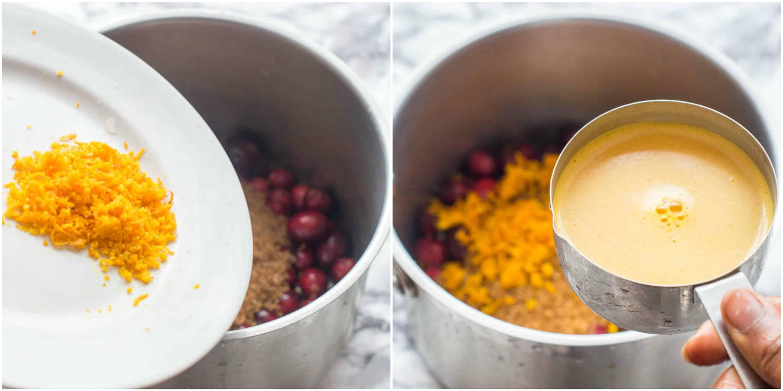 adding the zest and orange juice