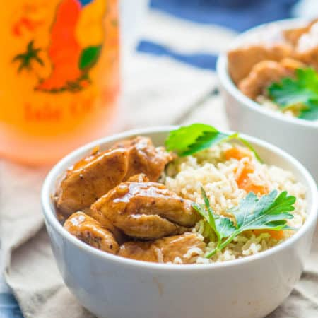 Grenadian nutmeg cinnamon chicken with rice