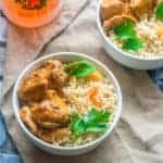 Grenadian nutmeg cinnamon chicken in a bowl