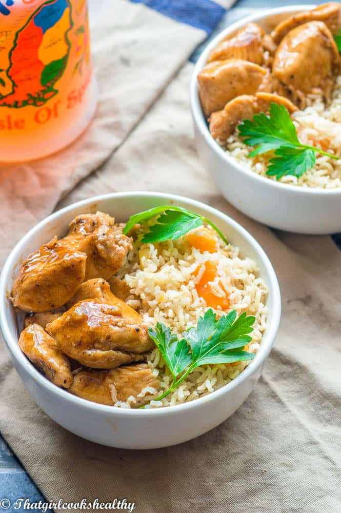 Grenadian nutmeg cinnamon chicken with rice and herbs