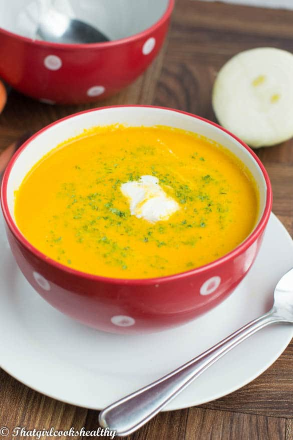 Creamy carrot ginger soup (Vegan and gluten free) - That Girl Cooks ...