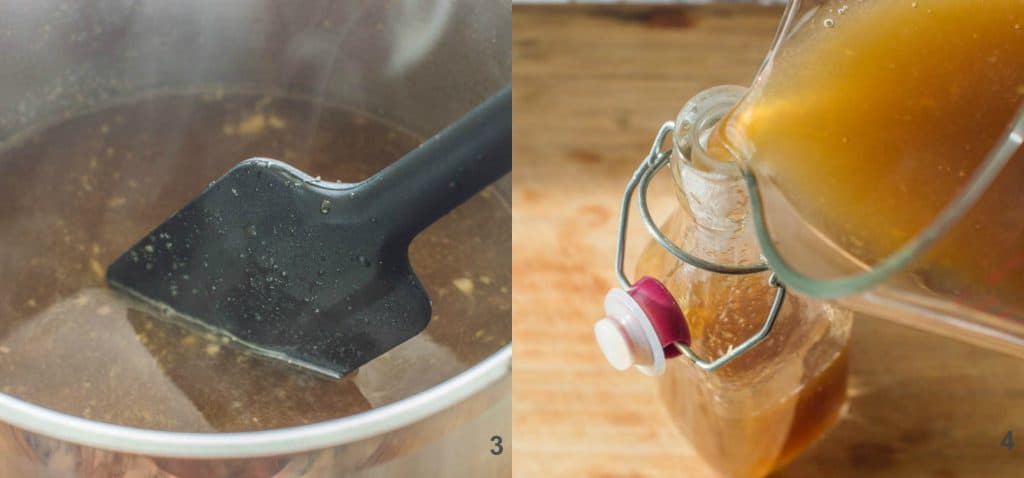 steps 3-4 to make homemade ginger syrup