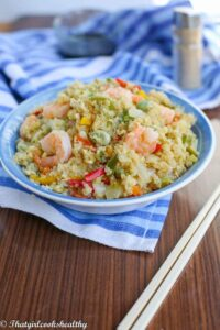 Stir fried quinoa with shrimp and vegetables