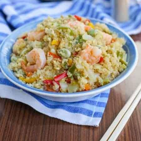 Stir fried quinoa with vegetables and shrimp 450x450 - Stir fried shrimp quinoa bowl {soy free}