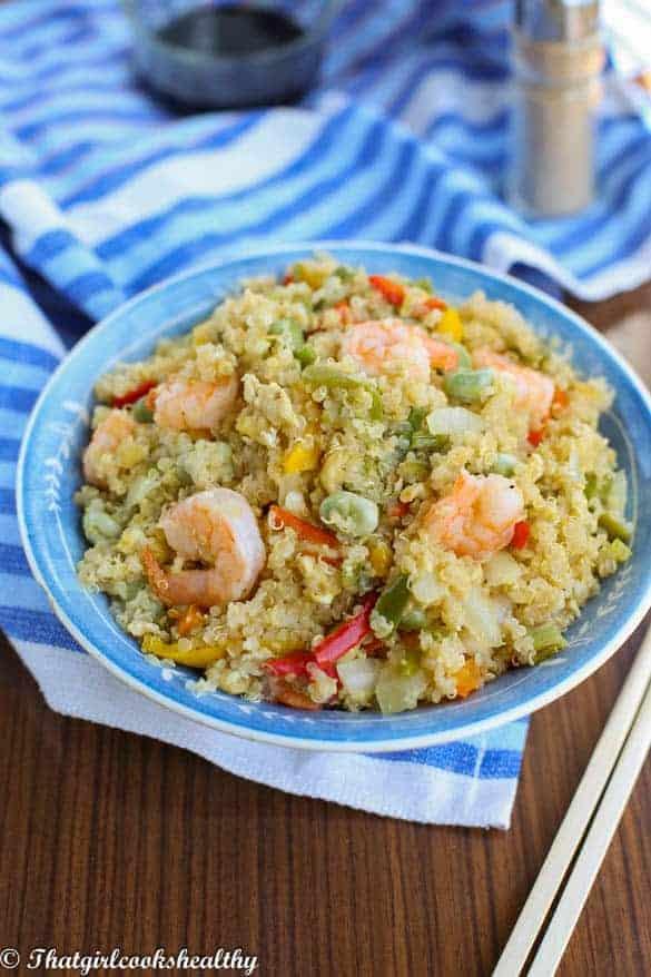 Stir fried quinoa with vegetables and shrimp2