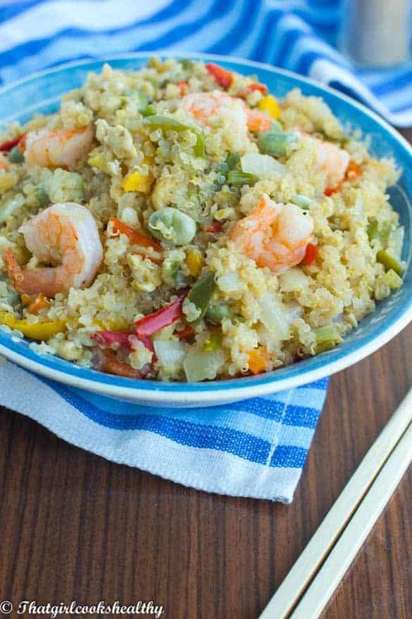 Stir fried quinoa with vegetables and shrimp3