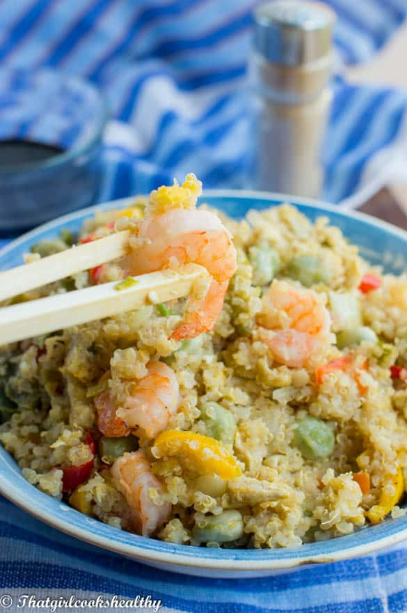 Stir fried quinoa with vegetables and shrimp5