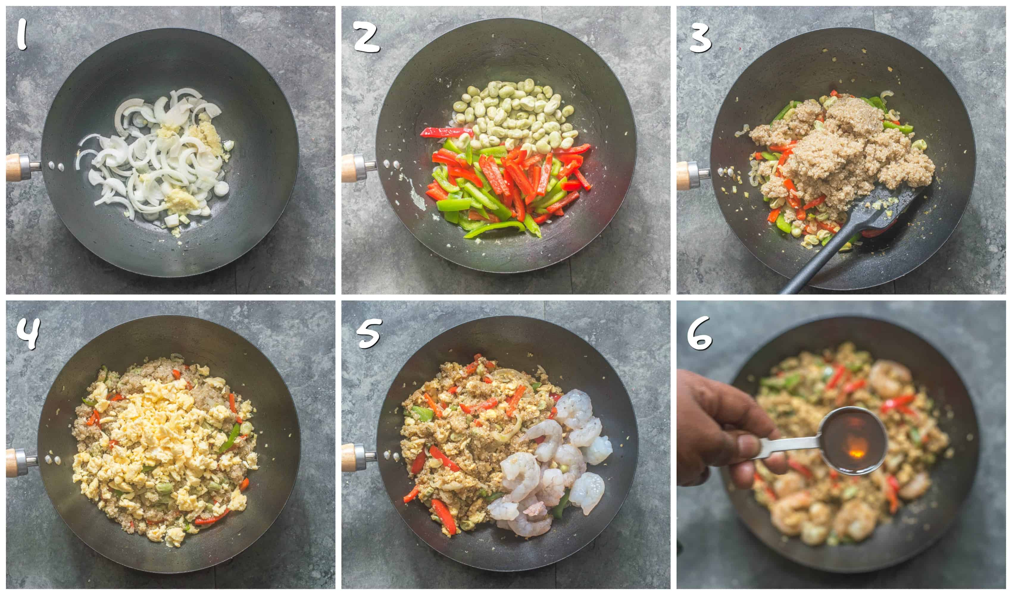 Steps for stir frying quinoa and shrimp with vegetables