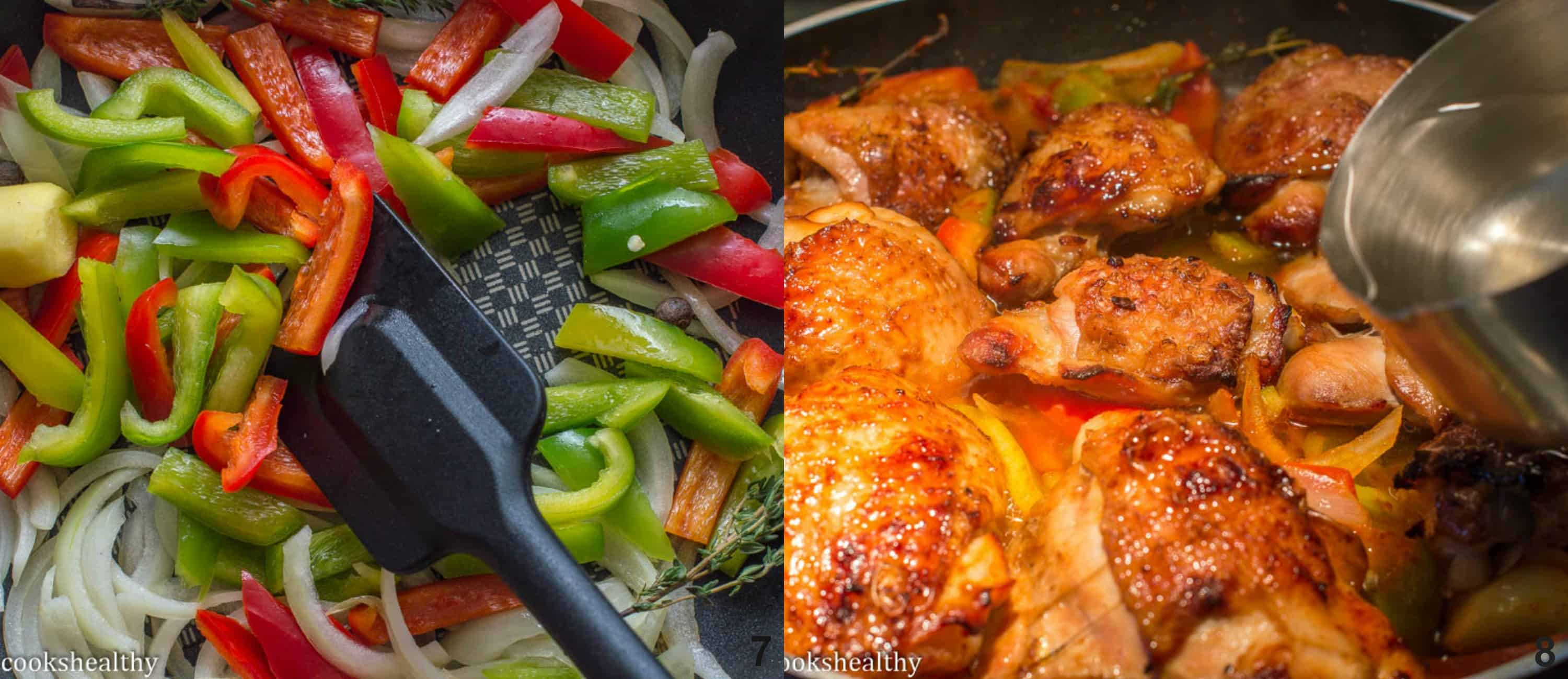 peppers and onions in skillet, brown stew chicken simmering in skillet
