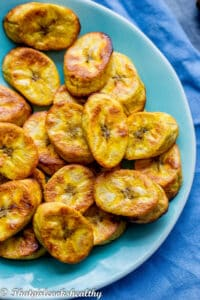 close up of the plantain slices