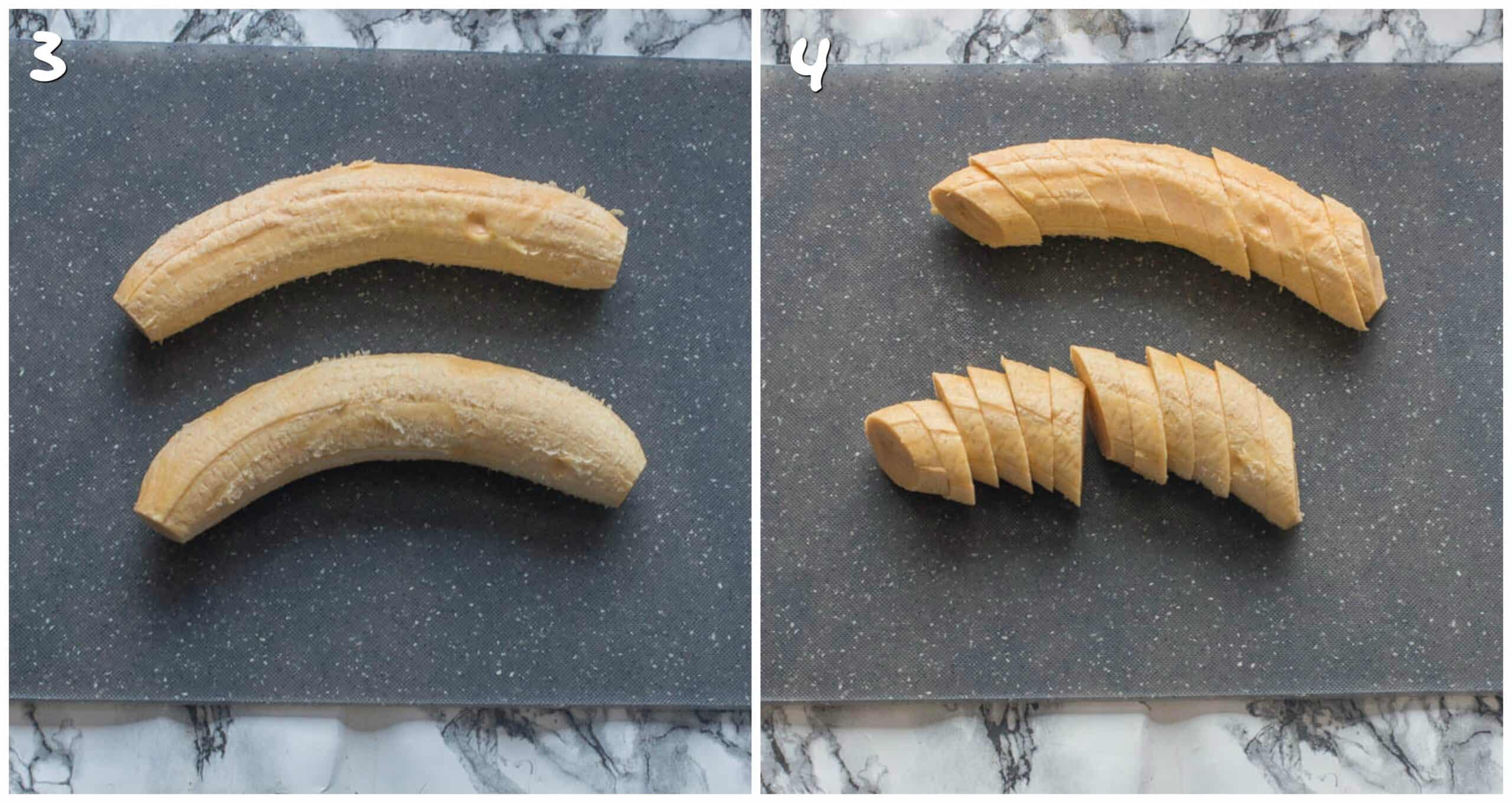 steps 3-4 slicing the plantain(s)