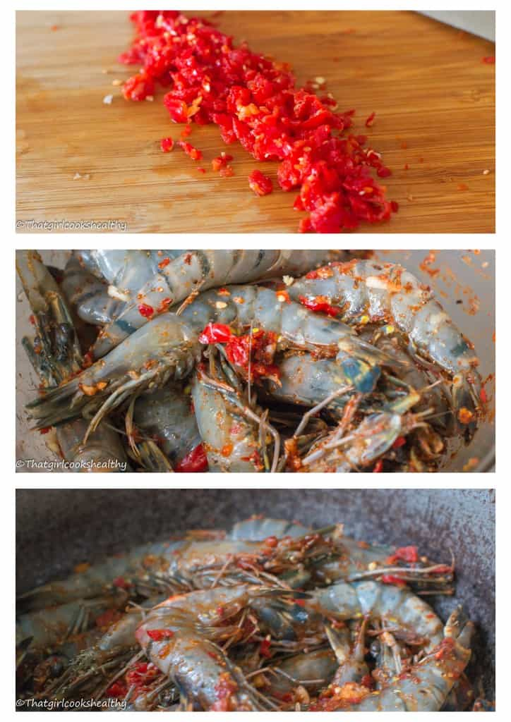 Hot pepper shrimp step 1-3