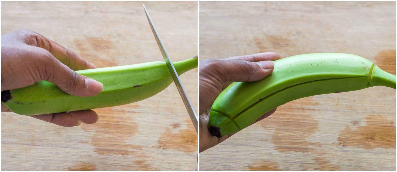 green banana porridge steps 1 2 - Green banana porridge (vegan style)