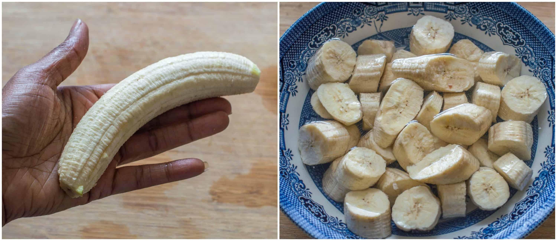 Peeled and chopped banana