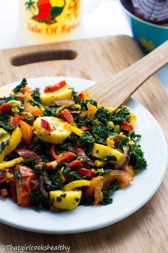 Boiled plaintains with kale