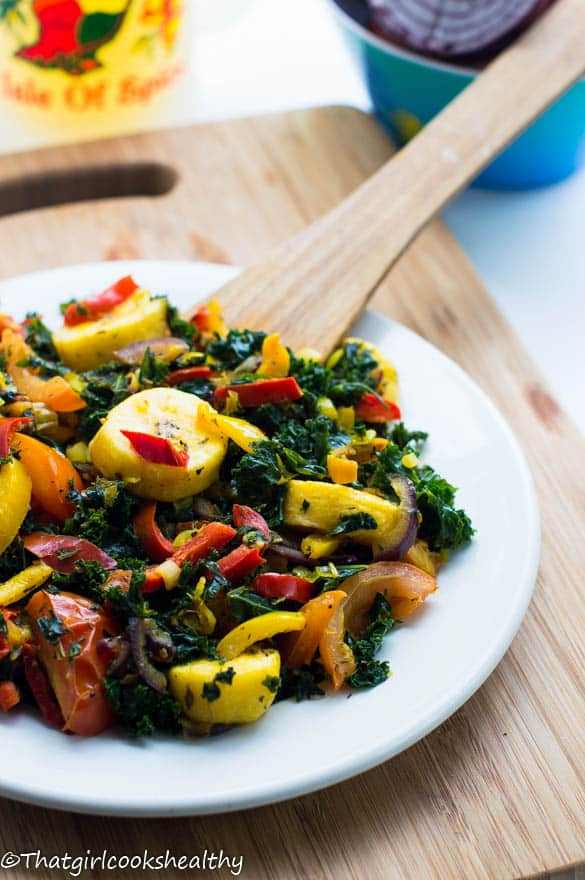 Boiled plantains with kale3