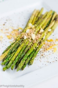Charred asparagus with lemon and toasted sesame seeds