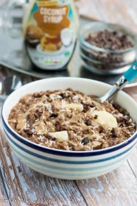 Chocolate almond butter oatmeal (dairy free)