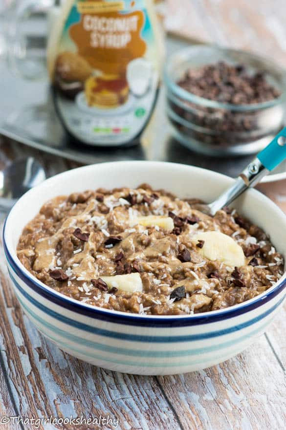 Almond butter chocolate oatmeal