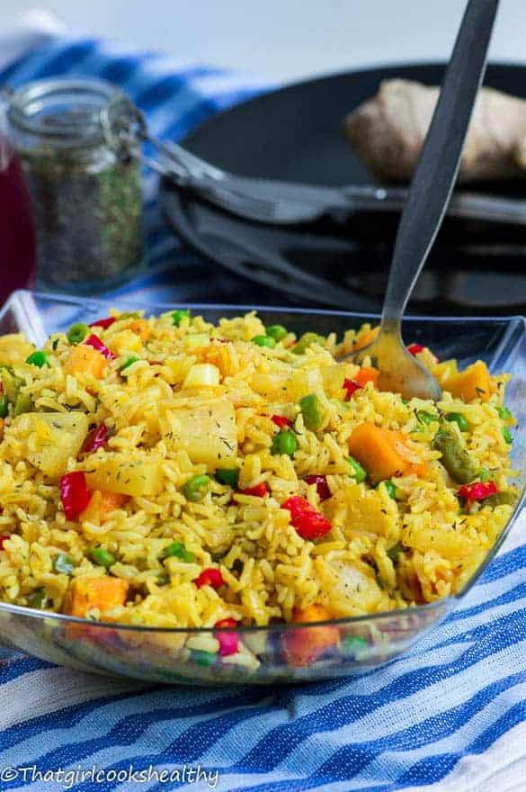Pineapple papaya fried rice5