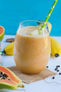 Pineapple papaya banana smoothie