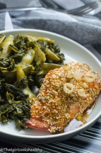Sesame seed glazed salmon with steamed vegetables