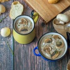 2 bowls of mushroom soup