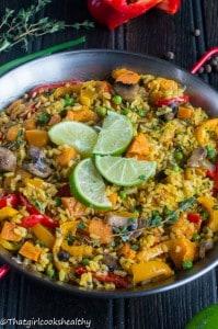 Caribbean paella (vegan style)