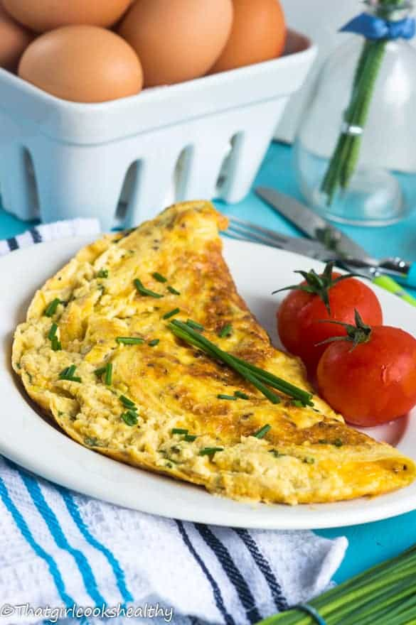 Cheese and chive omelette