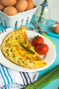 Cheese and chive omelette4 199x300 - Cheese and chive omelette (dairy free)