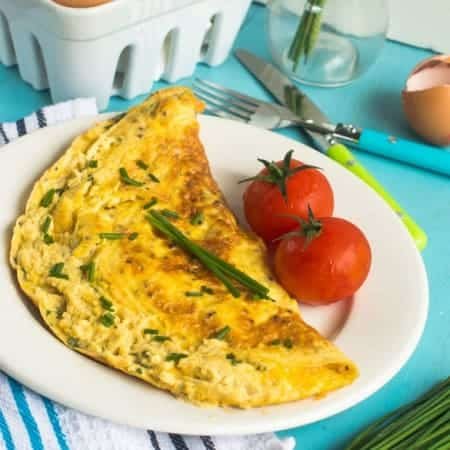 Cheese and chive omelette4 450x450 - Cheese and chive omelette (dairy free)