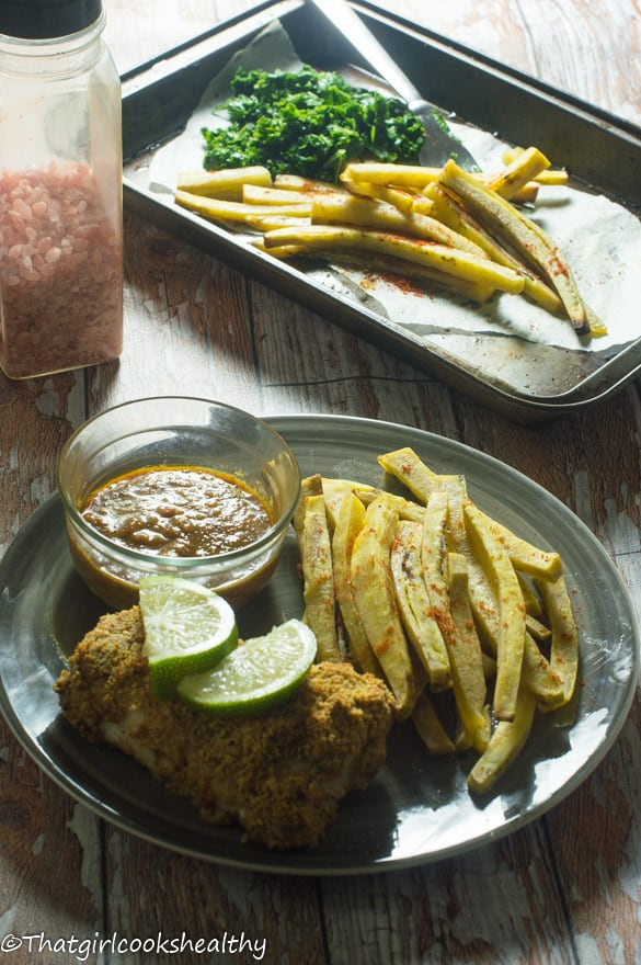 Baked fish with green plantain fries1