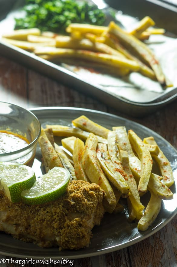 Baked fish with green plantain fries2