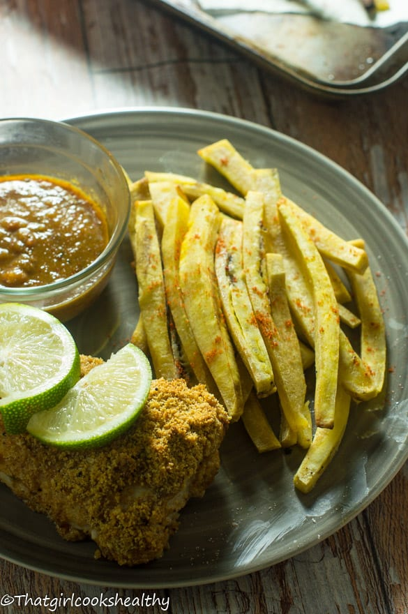 Baked fish with green plantain fries3