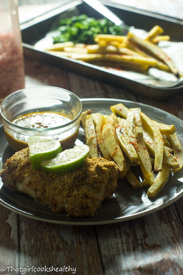 Baked fish with green plantain fries4