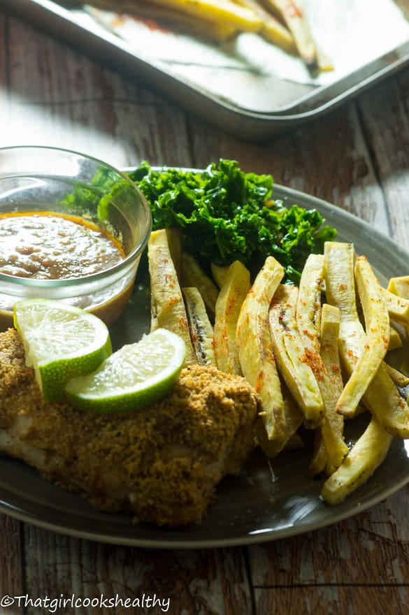 Baked fish with green plantain fries5