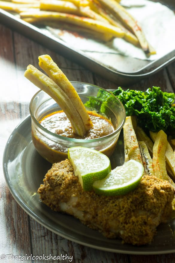 Baked fish with green plantain fries6