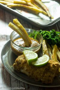 Baked fish with green plantain fries (Caribbean fish & chips)