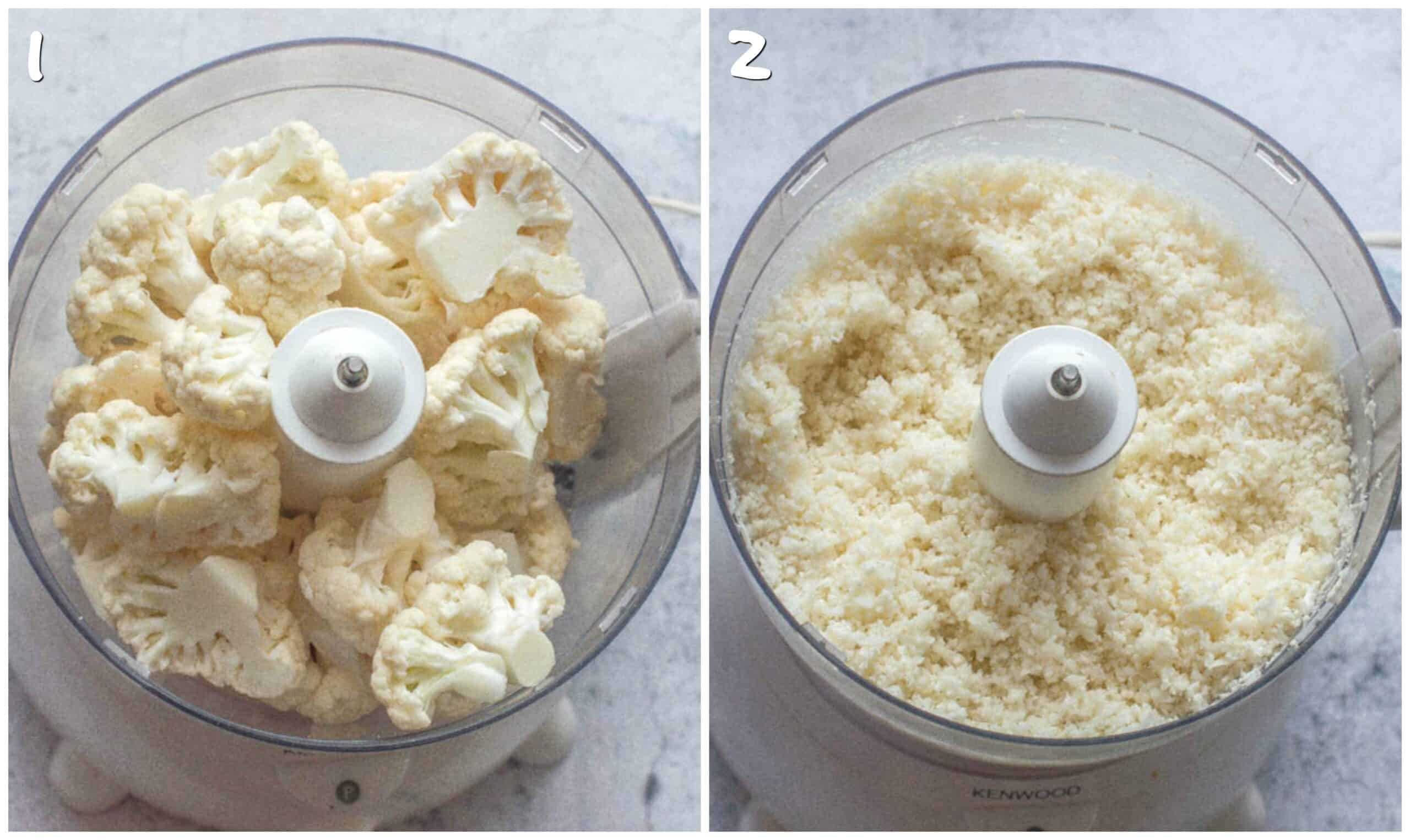 steps 1-2 cauliflower florets processed
